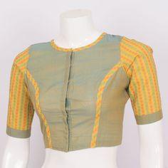 Hand Crafted Kalamkari Cotton Blouse 10008571 - AVISHYA.COM Simple Blouse Designs, Saree Blouse Neck Designs, Stylish Blouse Design, Blouse Patterns, Cotton Blouses, Embroidery Stitches, Embroidery Designs, Sarees, Long Frock