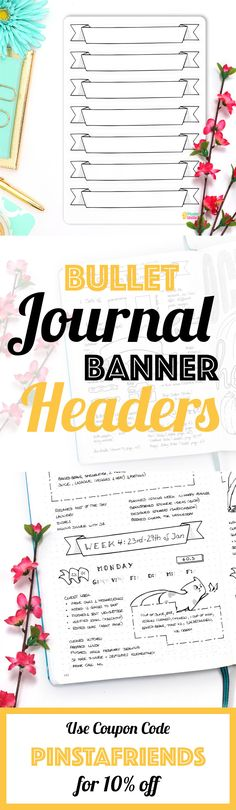 """Banners are a great way to spice up your Bullet Journal or Notebook. Use them to mark special occasions, as a header for your new spread or for quick notes. They can be as productive as they can be beautiful, so make sure to use them to their full advantage!  Each sticker sheet is hand-drawn and afterward vectorized so it prints beautifully. They each are printed on matte white sticker paper and measure 7.25"""" x 5"""" (18.5 cm x 12.7 cm) [...]"""