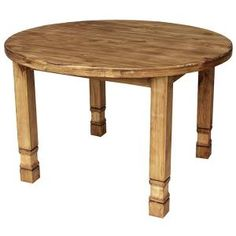 This very affordable round rustic kitchen table works well in a compact dining room or on a covered patio for dining al fresco. Fill the center with candles and flowers for a romantic dinner for two, or fit a whole family around it. Available in two sizes below.