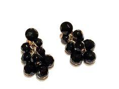 Jet Crystal Cluster Drop Earrings Vintage Black by justvintage4u