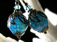 Peacock Blue Green Dragon Vein Crystal Drop by TitanicTemptations, $32.00