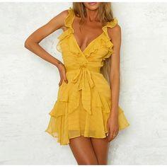 Deep V Neck Ruffle Bow Bohemian Dress e8604802c