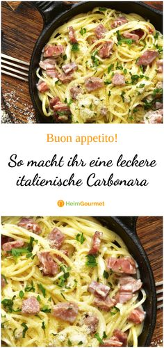 Cream has no place in a real carbonara like the one made in Iatlien! So you do it right … Cream has no place in a real carbonara like the one made in Iatlien! So you do it right … Tagliatelle Carbonara, Spagetti Carbonara, Pizza Recipes, Salad Recipes, Chicken Recipes, Dinner Recipes, Best Italian Recipes, Gourmet, The Originals