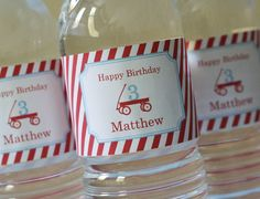 Red Wagon Party Water Bottle Labels - PRINTABLE only. $5.00 USD, via Etsy.