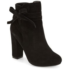 "Steve Madden 'Loreen' Bootie, 4"" heel (170 BAM) ❤ liked on Polyvore featuring shoes, boots, ankle booties, ankle boots, black suede, leather booties, chunky heel booties, black ankle boots and black leather booties"