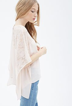 Effortlessly ethereal and constructed for your comfort, this blouse is a must-have for workweek dressing and off-duty days alike. With a floral lace paneled yoke and a billowy chiffon body, this piece already has all the makings of a femme favorite. Its kimono-style short sleeves and flap sides, however, make it a sartorial standout.