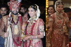 The svelte and sensuous Shilpa Shetty was at her best as a bride. She chose to keep it traditional and was decked with jewels. In a typical Mangalorean style, from her maang tikka, armlet and the kamarbandh, everything was in its right place.