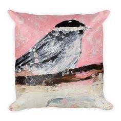 Pink chickadee bird pillow
