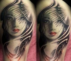 Woman tattoo by Steffi Eff