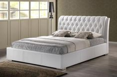 Wholesale Interiors Baxton Studio Bianca White Modern Bed with Tufted Headboard (Queen Size) Leather Platform Bed, Queen Size Platform Bed, Modern Platform Bed, Platform Bed Frame, Upholstered Platform Bed, Leather Bed, Tufted Headboard Queen, White Headboard, White Bedding