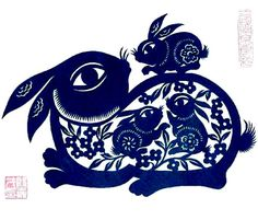 Chinese rabbits paper cut-out by Jiacai Yin