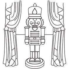 Nutcracker Coloring Page - once they have finished their SQUILT page, then they can color this one the back while listening
