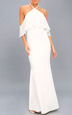 Pearls Of Wisdom White Pearl Off The Shoulder Maxi Dress