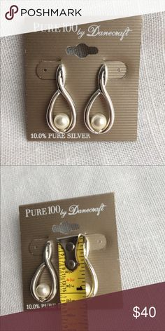 New 10.0% Pure Silver Faux Pearl Earrings Brand new with tags. Danecraft Jewelry Earrings