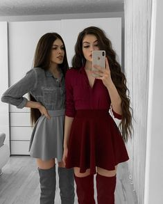 Matching Sister Outfits, Twin Outfits, Dance Outfits, Cute Casual Outfits, Cute Summer Outfits, Stylish Outfits, Fashion Outfits, Cute Girl Dresses, Dresses For Teens