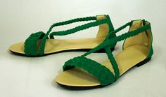 ☼ Braided Emerald Sandals - $50 ☼ Shunami ☼ Any Colors. Any Size. Any Style. ☼  Follow and re-pin for a $5 coupon code. ☼