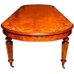 Large Victorian Dining Table Burr Walnut Extendable