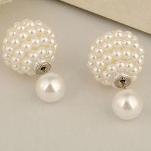 Al por mayor! aros de las mujeres doble clip de la perla pendientes de la joyería Multicolor pendientes de cartílago del oído del perno prisionero de declaración E1499-E1502(China (Mainland))