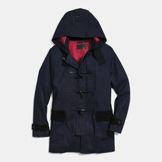 $398, Navy Duffle Coat: Coach Mac Duffle Coat. Sold by Coach. Click for more info: https://lookastic.com/men/shop_items/155801/redirect