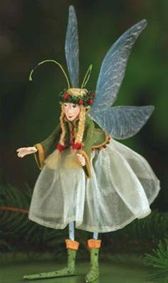Patience Brewster Krinkles Green Fairy of Hope Christmas Ornament Holiday New Whimsical Christmas, Christmas Crafts, Christmas Ornaments, Kobold, Flower Fairies, Fairy Art, Fairy Dolls, Faeries, Patience