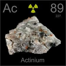 Actinium is a radioactive chemical element with symbol Ac (not to be confused with the abbreviation for an acetyl group) and atomic number 89, which was discovered in 1899. It was the first non-primordial radioactive element to be isolated. Polonium, radium and radon were observed before actinium, but they were not isolated until 1902. Actinium gave the name to the actinide series, a group of 15 similar elements between actinium and lawrencium in the periodic table.