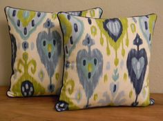 Pair of Handmade Blue & Green Ikat Pillow Covers via Etsy. Love this for living room, maybe good curtain fabric