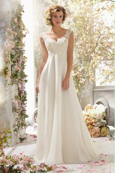 [$169.99] 2016 V Neck A Line Wedding Dress Chiffon With Beads And Applique Court Train