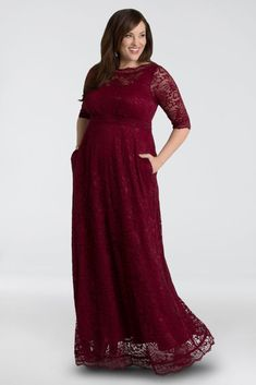 Buy this plus size evening gown to look great at any special occasion. The Leona Lace Gown features length sleeves, an A-line silhouette and pockets! Bridesmaid Dresses With Sleeves, Bridesmaid Dresses Plus Size, Burgundy Bridesmaid Dresses, Gowns With Sleeves, Tea Length Dresses, Plus Size Maxi Dresses, Plus Size Outfits, Tunic Dresses, Halter Dresses