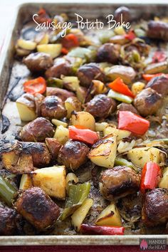 Sausage Potato Bake is a super simple and ultra savory meal loaded with golden and caramelized onions, peppers, potatoes, and meaty bites of sausage.