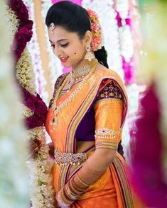 Stunning Bride in Orange Kanjivaram Saree with Purple and Gold Border with Matching Blouse and Diamond Jewelry South Indian Weddings, South Indian Bride, Kerala Bride, Indian Dresses, Indian Outfits, Saree Wedding, Hair Wedding, Wedding Lehanga, Telugu Wedding