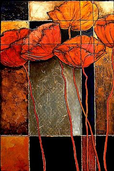 By Carol Nelson. This painting has heavily textured poppy forms and a variety of surface treatments including art papers, acrylic medium, and metal leafing.