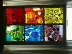 stained glass mosaic ~ create separate color panels in a multi-lite window.