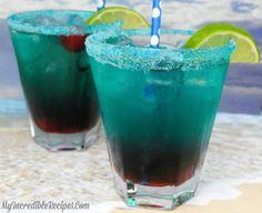 Recipe Beverages with Malibu Caribbean Rum, blue curaçao, pineapple juice, sprite, gren Drinks With Grenadine, Blue Curacao Drinks, La Grenadine, Holiday Drinks, Party Drinks, Summer Drinks, Fun Drinks, Birthday Drinks, Beach Drinks