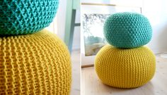 You are going to love this Crochet Floor Pouf and it's a fabulous free pattern. We have a Knitted Free Pattern that you are going to love to. Knitted Ottoman, Knitted Pouf, Yarn Projects, Knitting Projects, Crochet Projects, Crochet Home, Knit Crochet, Free Knitting, Knitting Patterns