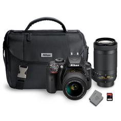 (Huge gift; just saving as a wishlist item!) Nikon D3400 DX Bundle with AF-P DX NIKKOR 18-55mm and 70-300mm Lens- Black - Sam's Club