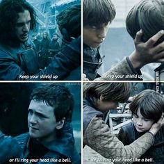 Ned Stark and Jon Snow. This is clearly a familial phrase used while teaching swordfighting in House Stark - which shows us Jon's brotherly feelings towards Ollie. Which breaks your heart even more, doesn't it? ASOIAF. Game of Thrones