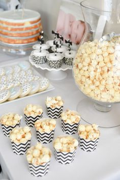 Black + White Dessert Table for First Birthday Party