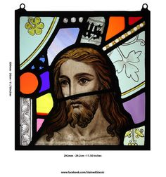 Stained Glass Panel, made up of 19th cen Antique Glass fragments, Re-Leaded, Recomposed, Antique portrait of Jesus Christ, Ref: JC-portrait