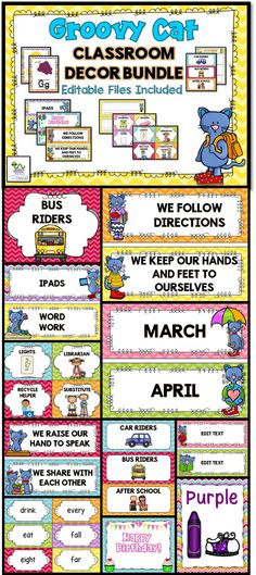 Groovy Cat and Chevron Theme classroom décor pack. There are over 350 pages with many editable options.  Includes classroom posters, rules, clip charts, classroom jobs, schedule cards, word wall, supply labels and much, much more!