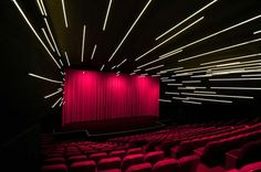 Billy Wilder Theater at UCLA Hammer Museum by Michael Maltzan Architecture. Michael Malzan, Arch; Lam Partners, Lighting design. 3500K linear LED strips dimmed such as to create a sense a warp acceleration ( or deceleration).
