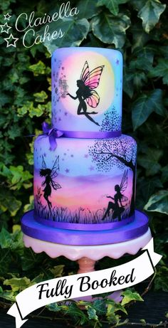 purple fairy cake in silloutte. My Cupcake Addiction by Elise Strachan Gorgeous Cakes, Pretty Cakes, Cute Cakes, Amazing Cakes, Crazy Cakes, Bolo Fashionista, Airbrush Cake, Silhouette Cake, Fairy Silhouette