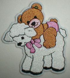 Aufnäher Schäfchen und Teddybär rosa von STICKTRAUM auf DaWanda.com