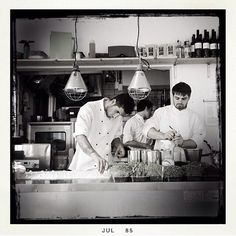 Isaac-at Gloucester Street, Brighton,  Our three chefs at work by Martyn Baxter who visited our restaurant 3 weeks ago. Thank you Martyn! www.isaac-at.com