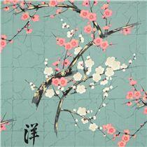 Tela azul verdoso Alexander Henry flores japonesas y dorados