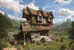 Science-Fiction-Architektur - Medieval Fantasy Potions Store concept by ha-min - Futuristic Architecture Fantasy Concept Art, 3d Fantasy, Fantasy Places, Fantasy Setting, Fantasy Landscape, Medieval Fantasy, Fantasy World, Final Fantasy, Fantasy Town