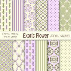 Green Pink Digital Paper EXOTIC FLOWER lilac by DigitalStories, €2.60