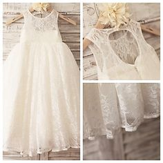 Princess Ivory Hole Back Floor-length Flower Girl Dress - Lace Sleeveless – USD $ 59.99