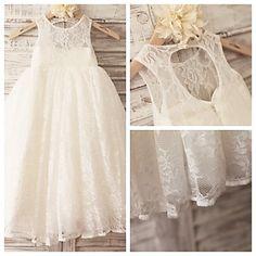 Princess Ivory Hole Back Floor-length Flower Girl Dress - Lace Sleeveless – USD $ 59.99