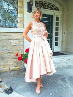 Pink Mother Of The Bride Dresses For Wedding Ruffles Taffeta Bow Sequins Beading Bateau Cheap Hi Lo 2016 Women Evening Dresses Formal Wears Plus Size Mother Of The Bride Dresses Uk Tea Length Mother Of The Groom Dresses From Faithfully, $122.62| Dhgate.Com