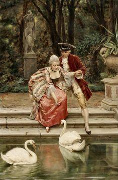The Athenaeum – Feeding the swans (Charles Joseph Frederick Soulacroix – ) - Classic Art Classic Paintings, Old Paintings, Beautiful Paintings, Classical Art Memes, Victorian Paintings, Victorian Art, Swans, Art Couple, Memes Arte